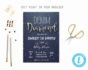 Denim And Diamonds Invitation Etsy