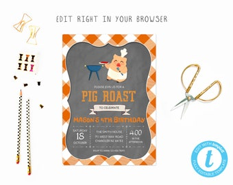 pig roast invitation etsy
