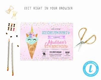 icecream invitation etsy