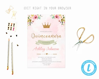 quinceanera invitation template etsy