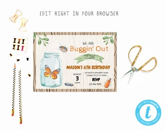 Cute Mason Jar Bug Party Tem TRY BEFORE You BUY Instant Download Edit Yourself InvitationTemplate Editable