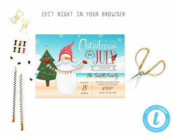Christmas In July Invitations Etsy