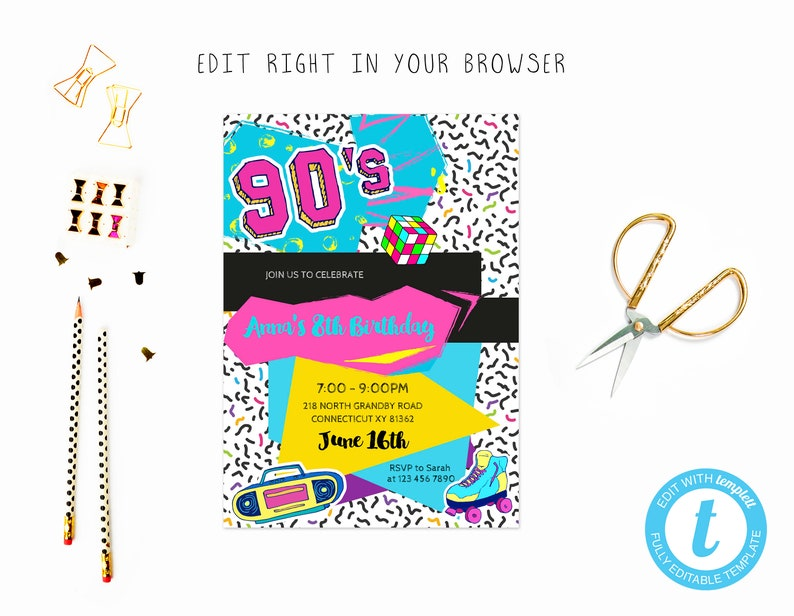 Cute 90s birthday party tem, TRY BEFORE you BUY, instant download, edit  yourself invitation,Template Editable