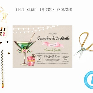 cupcakes and cocktails bridal shower tem try before you buy instant download edit yourself invitationtemplate editable