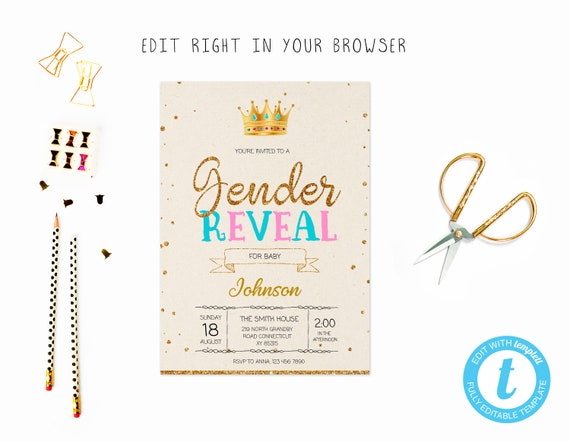 Gender Reveal Prince Princess Tem Try Before You Buy Instant Etsy
