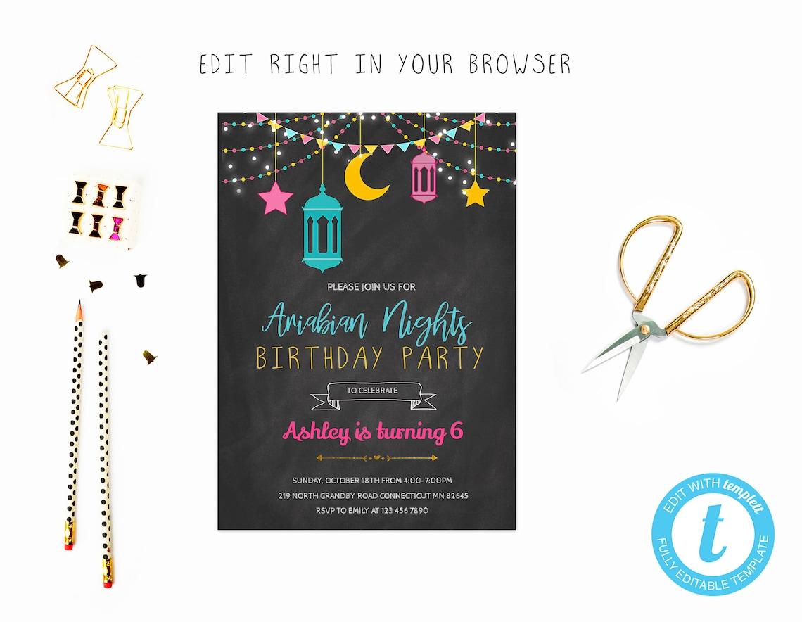 Arabian Nights Birthday Party Invitation - Dark Background