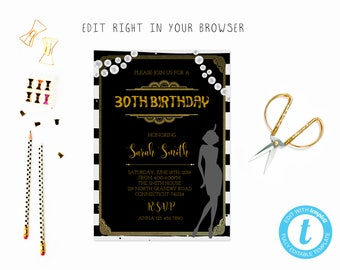 1920s birthday party tem, TRY BEFORE you BUY, instant download, edit yourself invitation,Template Editable