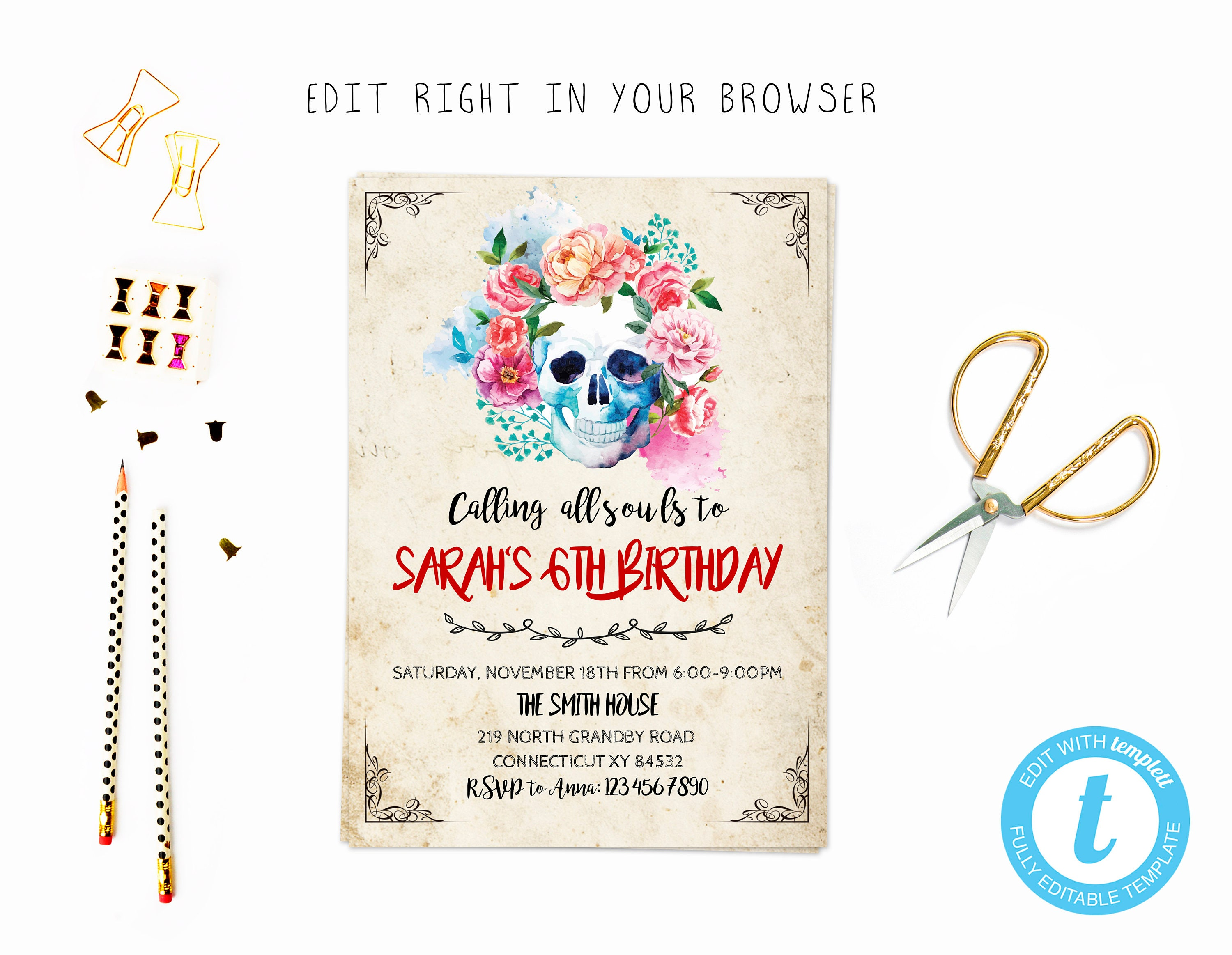 Skull party tem TRY BEFORE you BUY instant download edit | Etsy