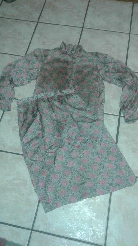 Vintage Hanae Mori Silk 70s 80s Dress Set - Blouse