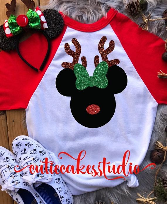 Disney Christmas Shirt Designs.Disney Reindeer Shirt Disney Christmas Shirt Mickey S Christmas Party Disney Rose Gold Shirt Disney Vacation Reindeer Raglan Shirt