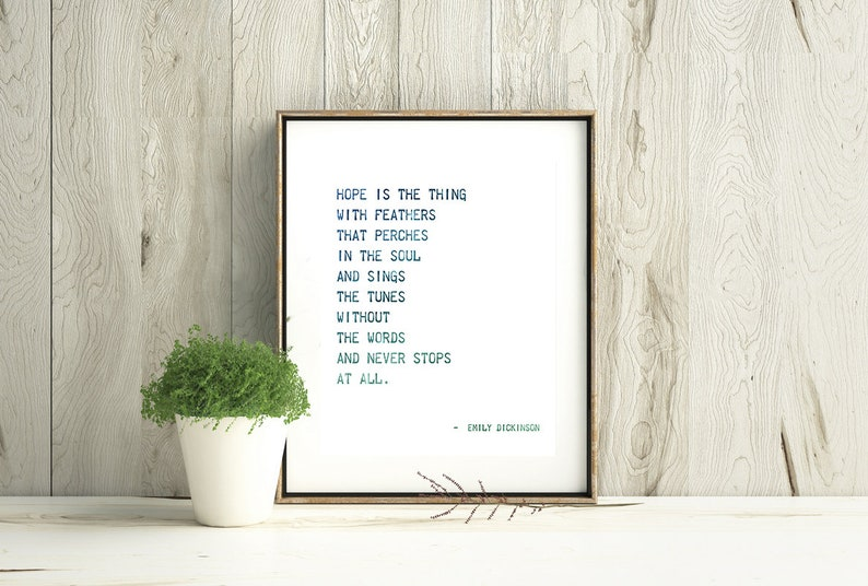 Emily Dickinson Quote Hope Is The Thing With Etsy