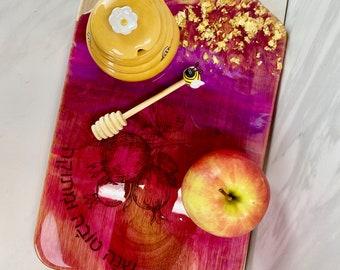 Rosh Hashanah Charcuterie Board   Jewish New Year Serving Platter  Shana Tovah Art  Homemade Poured Home Decor   Unique Judaica