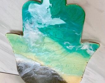 Custom Made Beach Hamsa Resin Art   Ocean Waves Art Chamsa Shema Yisrael   Real Sand Homemade Poured Home Decor   Unique Judaica