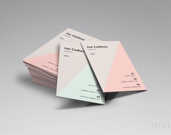 2pk Modern Business Card — Set of PSD Pastel Business Cards — Minimal Business Card — Triangle BC — Creative Business Card Template • Joy
