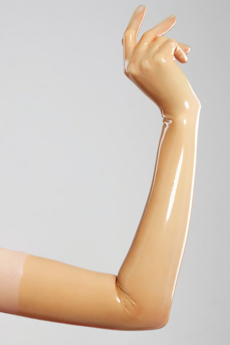 Long gloves made of molded latex in natural translucent color image 0