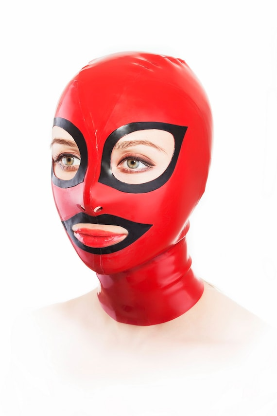 Latex mask with red condom and cut-outs for nostrils YocGDigXAD