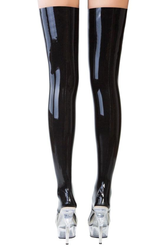 Black latex suspenders