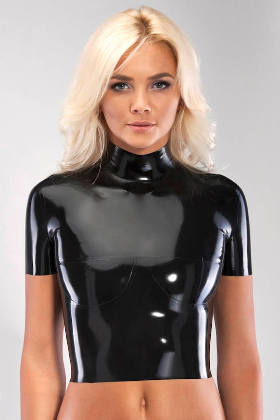 Latex Top With Short Sleeves And Breast Cups-6258