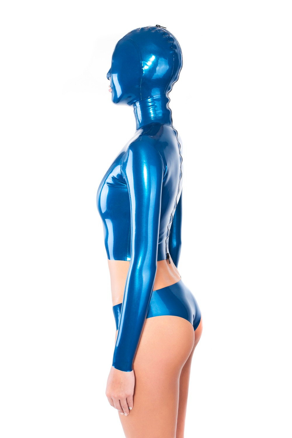 4628221b8ac Sexy latex top with attached hood