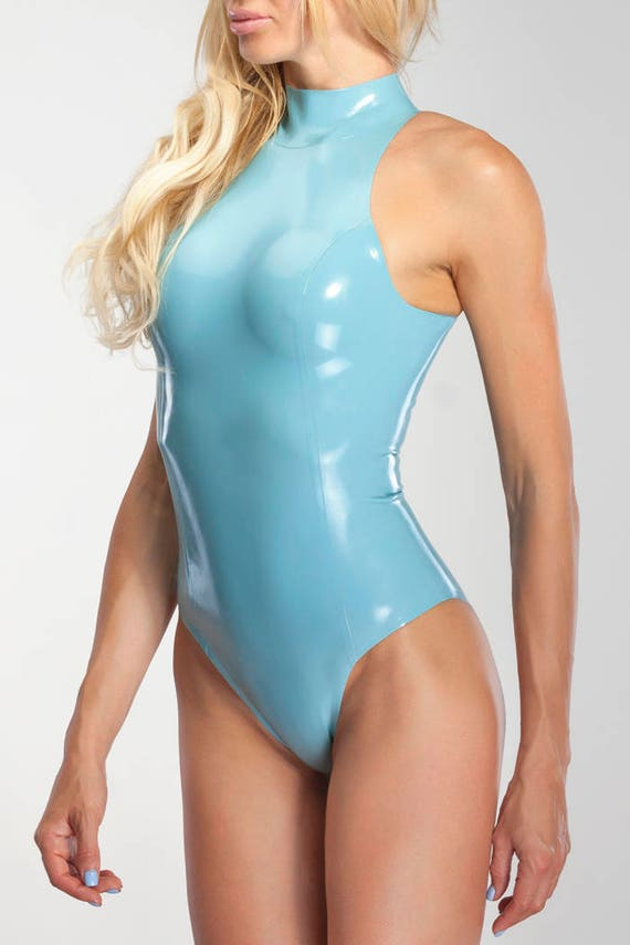 Latex swimsuit with high neck and back zipper
