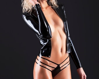 Jacket made of latex with metallic zipper