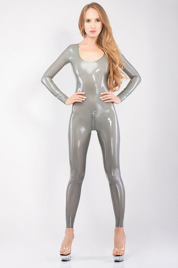 Latex catsuit with deep neckline and trim edges