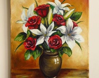 lilies and roses oil painting flower bouquet brown vase white red flowers hand painted wedding gift still life floral art mikimayo - Vase Painting