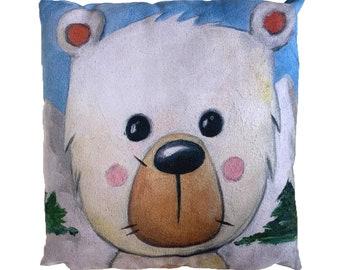 Polar Bear - Vegan Suede Cushion 43x43cm, MikiMayo Art
