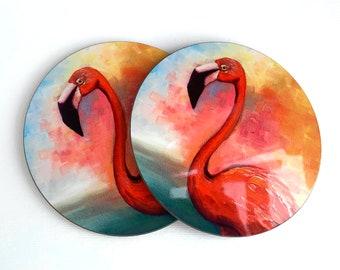 Two Coasters - Set of Two Coasters Flamingo