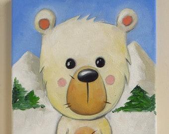 Polar Bear - Original Oil Painting on Canvas, 20x20 cm, MikiMayo Art