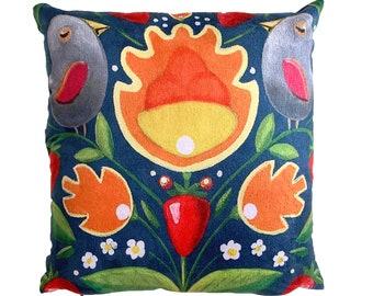 Strawberry Fields - Vegan Suede Cushion 43x43cm, MikiMayo Art