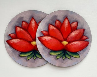 Two Coasters - Set of Two Coasters Lotus Flower