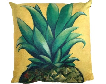 Pineapple - Vegan Suede Cushion 43x43cm, MikiMayo Art