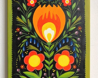 Floral Folk Art - Original Oil Painting on Canvas, MikiMayo Art