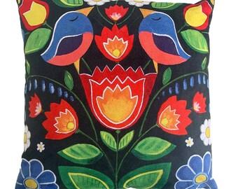 Spring Flowers - Vegan Suede Cushion 43x43cm, MikiMayo Art