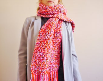 Crochet scarf in chunky purple, pink and orange yarn