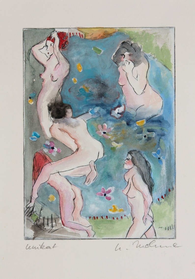 Ulrike Mohme signed unique Women at the Lake Original watercolour and cold needle etching