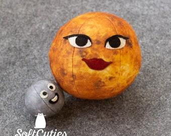 Mercury And Venus Soft Toys. Solar System. Toy Globe. Felt Planets. Plush Mercury and Venus.
