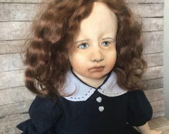 OOAK art doll, one of a kind doll, sculpted doll, Art doll, Paper clay doll, Handmade doll, retro doll, Art clay doll, Artist doll