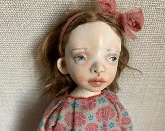 Art OOAK doll, Artist clay doll, Paper clay doll, Handmade air dry clay doll