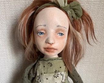 Sculpted clay doll, art clay doll, OOAK artist doll, Paper clay doll