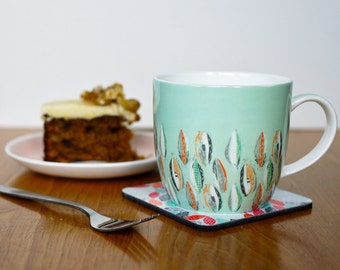 "Turquoise ""Scatter"" Fine Bone China Mug"