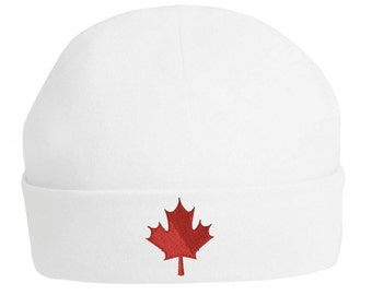 Canada   Canadian   Maple Leaf Embroidered Emblem - Baby Hats Ideal for 0-3  Months and 3-6 Months - 100% Cotton 972e49c259e3