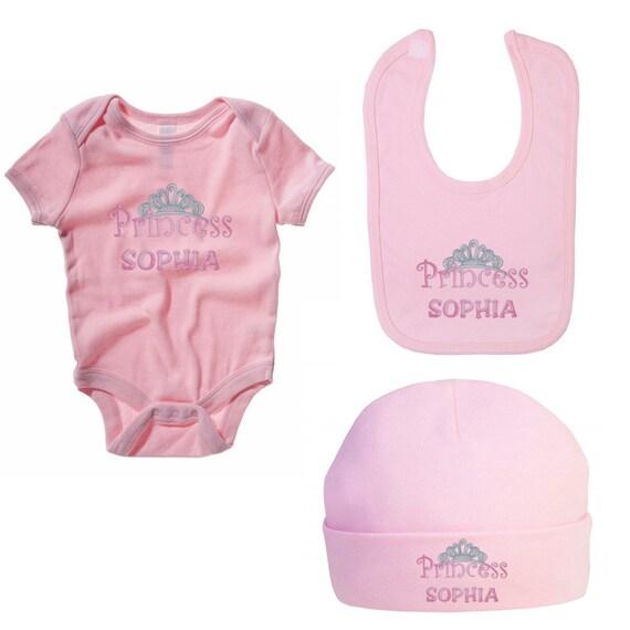 Baby grow-Vest-bib-hat Personalised embroidered baby girl set princess tiara