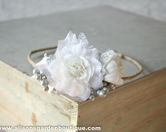 Silver White Floral Crown, Holiday Baby Crown, Newborn Toddler Adult Christmas Crown, Rose Floral Crown