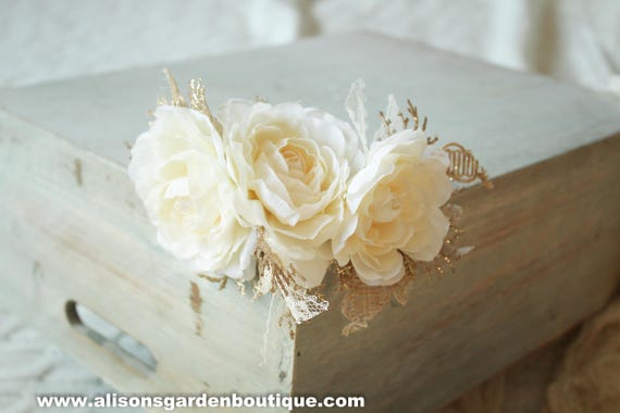 Cream Floral Crown White Floral Crown White And Gold Floral Etsy