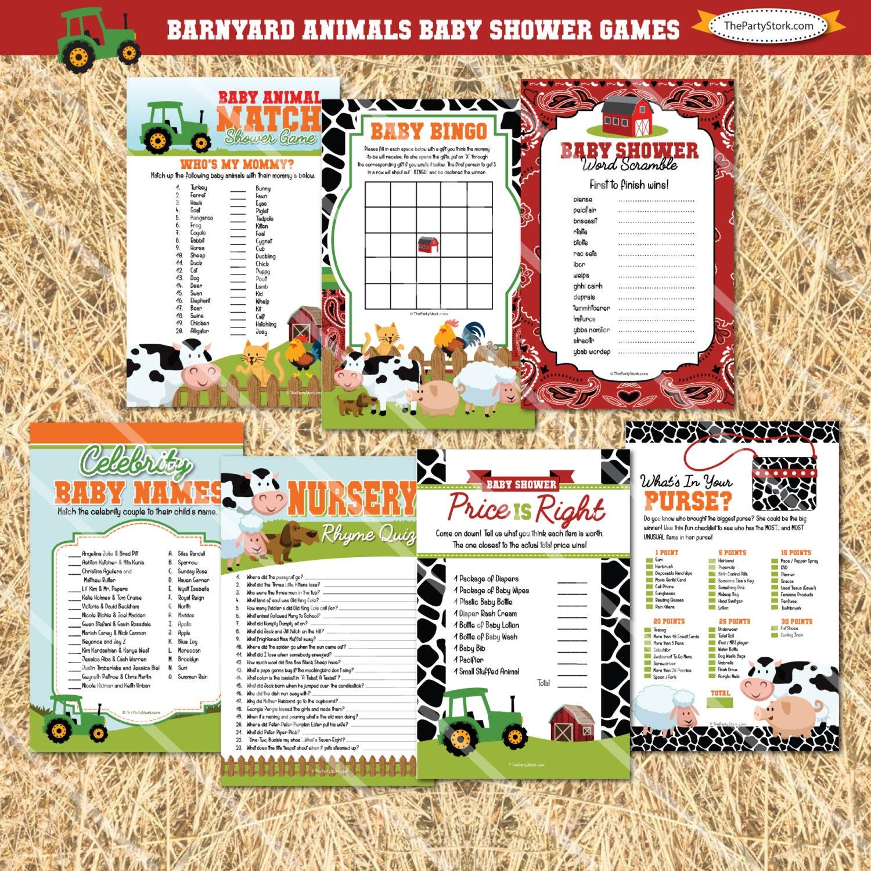 Barnyard Baby Shower Games Farm Animal Theme Bingo Price Is Etsy