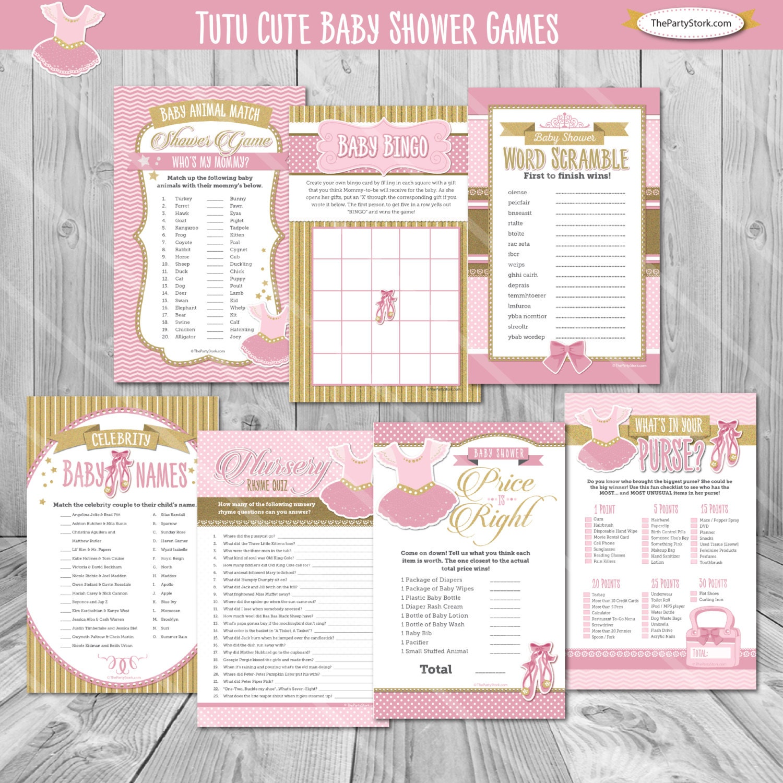 Ballerina Baby Shower Games, Ballet Baby Shower Games, Tutu Cute, Ballerina,  Bingo, Price is Right, Printable Ballet Baby Shower Games