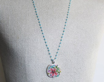 Handpainted flower necklace, wearable art, garden necklace, flower jewelry, rosary bead necklace, art jewelry, art necklace, girl gift