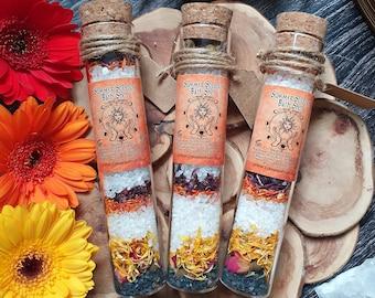 Summer Solstice Gift, Bath Ritual Salts, Litha Gift, Goddess Gift, Dried Flower Bath, Bath Salt Test Tube, Pagan Gift, Click For More Info!